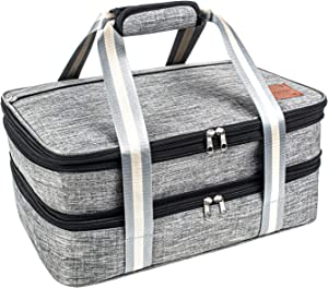 Insulated Expandable Dual Compartment Casserole Carrier for Potluck Parties, Picnic, Beach, Travel, Hiking & Camping. Lasagna Lugger, Thermal Tote Bag for Hot & Cold. Fits 9