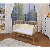 WALDIN Cuna colecho para bebé, cuna para bebé, con protector y colchón, natural sin tratamiento, beige/amarillo