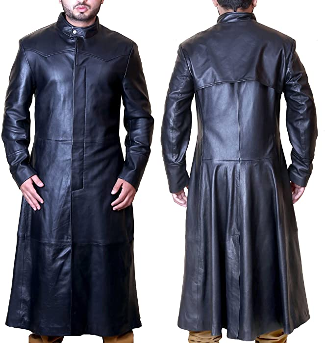 Superior Leather Garments - Abrigo - Gabardina - para Hombre Negro Negro XS