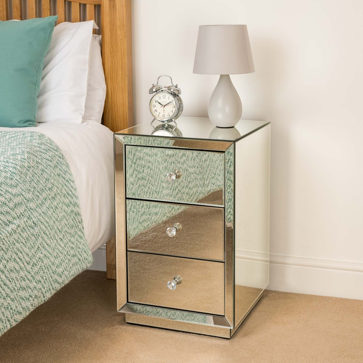 Christow Mirrored Glass Bedside Table 3 Drawer Bedroom Cabinet Stand Furniture