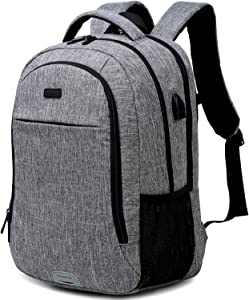 Abshoo Travel Laptop Backpack Computer Anti Theft Multi Pocket Laptops Backpack with USB Charging Port Water Resistant College School Bag for Women & Men Can Fits 15.6 Inch Laptop (Grey)