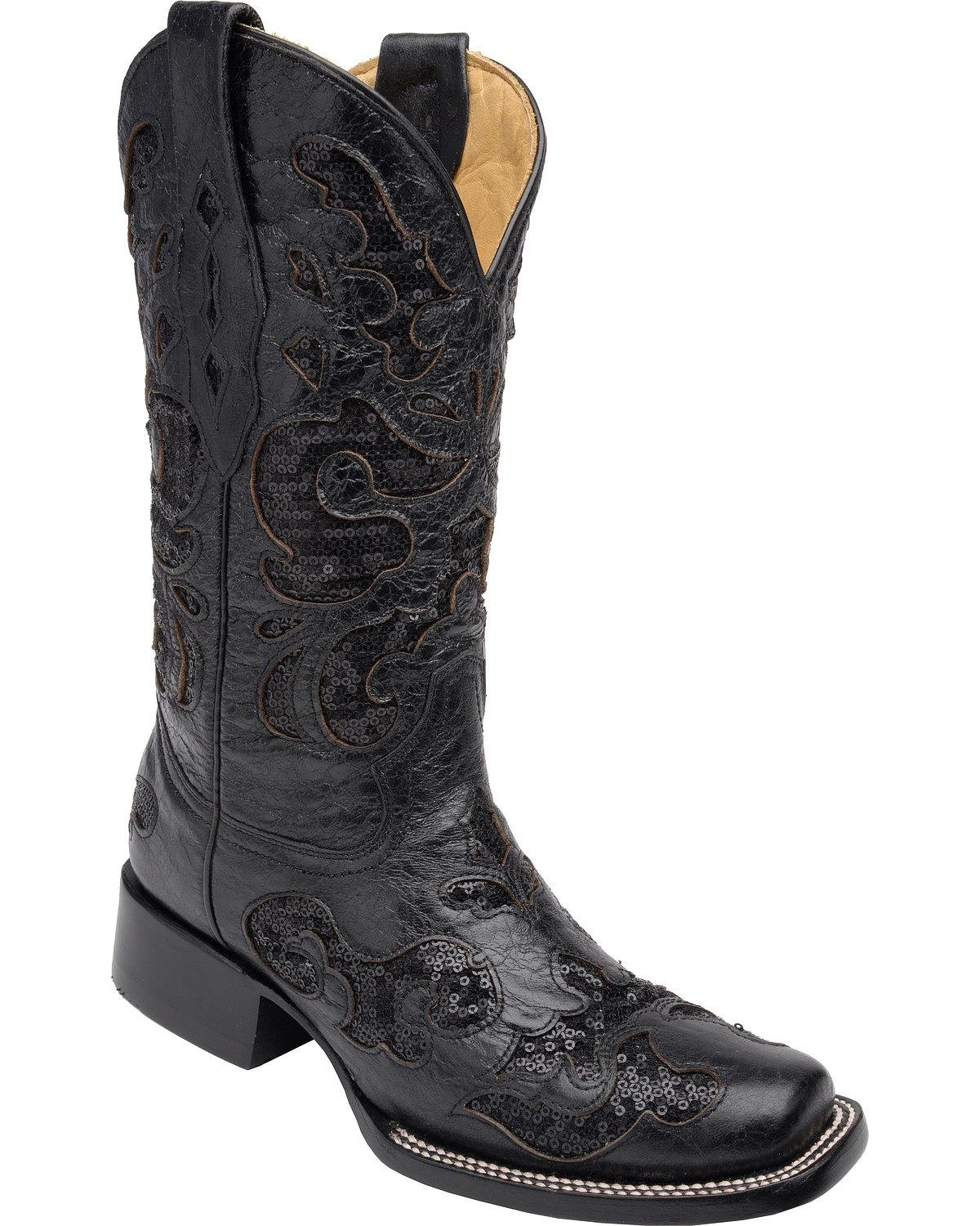 Corral Women's Sequin Inlay Cowgirl Boot Square Toe Black B01FUG7D3A 7.5 M US|Black