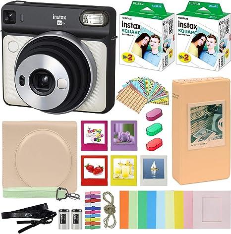 Fujifilm Instax Square SQ6 – Cámara instantánea Blanco Perla con Funda de Transporte + Fuji Instax Film