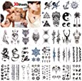 Konsait Temporary Tattoos for Adult Men Women Kids(30 Sheets), Waterproof Temporary Tattoo Fake Tattoos Body Art Sticker Hand Neck Wrist Cover Up Set, Dragon Anchor Scorpion Wolf Graphic Elk