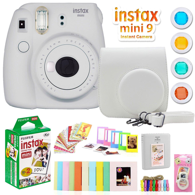 Fujifilm Instax Mini 9 Instant Camera w/Deco Gear Accessories & Film (Smokey White) by Fujifilm