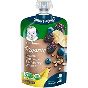 Gerber Organic 2nd Foods Baby Food, Banana, Blueberry & Blackberry Oatmeal, 3.5 Ounce Pouch, 12 count