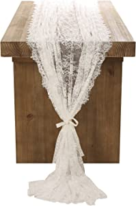 Ling's moment White Lace Tablecloth 60x120 Inches Wedding Table Runner Overlay Rustic Boho Wedding Reception Table Decor