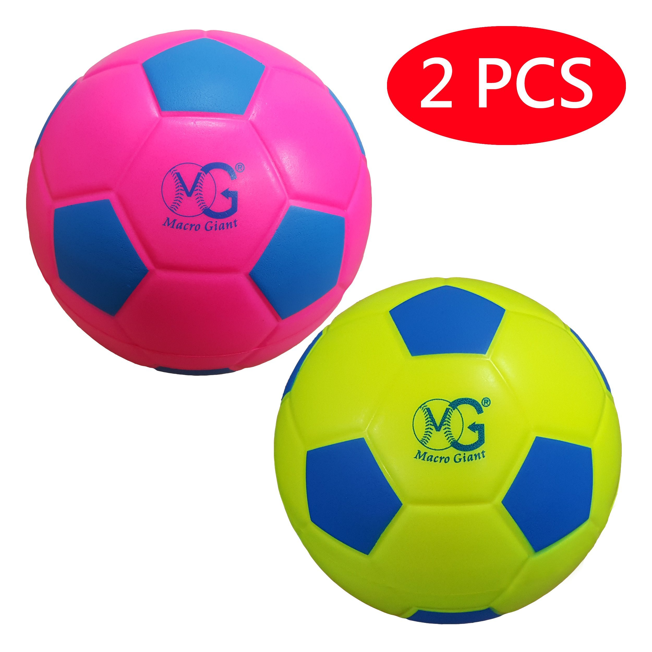 Macro Giant 7.5 Inch (Diameter) Safe Soft Foam Training Practice Soccer Ball, Set of 2, Neon Red & Neon Yellow, Playground Ball, Kid Sports Toys, Kickball, School Playground