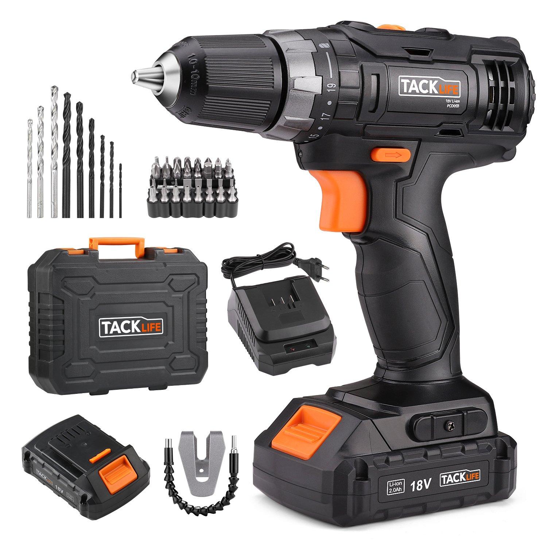 TACKLIFE 18V Taladro Bateria, 2 Baterías(2.0Ah), 1H Carga Rápida,