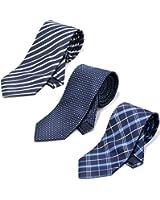 (ランスコ) LANSCO.VI. 全13 パターン メンズ ビジネス ジャガード織 洗濯 可能 ポリウォッシャブル ネクタイ 3本 セット ポリエステル 生地 ストライプ チェック 小紋 ドット クレスト 柄 ネクタイ グレー ネイビー ボルドー