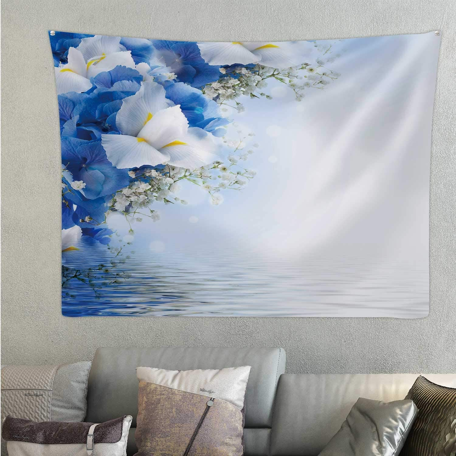 Tstyrea Flowers in a Bouquet,Room Decorations Blue hdrangeas and White Irises for Decor 78.7'' x 59.1''(WxH)