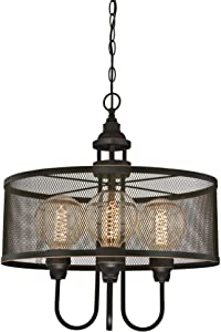 Westinghouse Lighting 6332900 Walter Four-Light Indoor Chandelier, Oil Rubbed Bronze Finish with Highlights and Mesh Shade