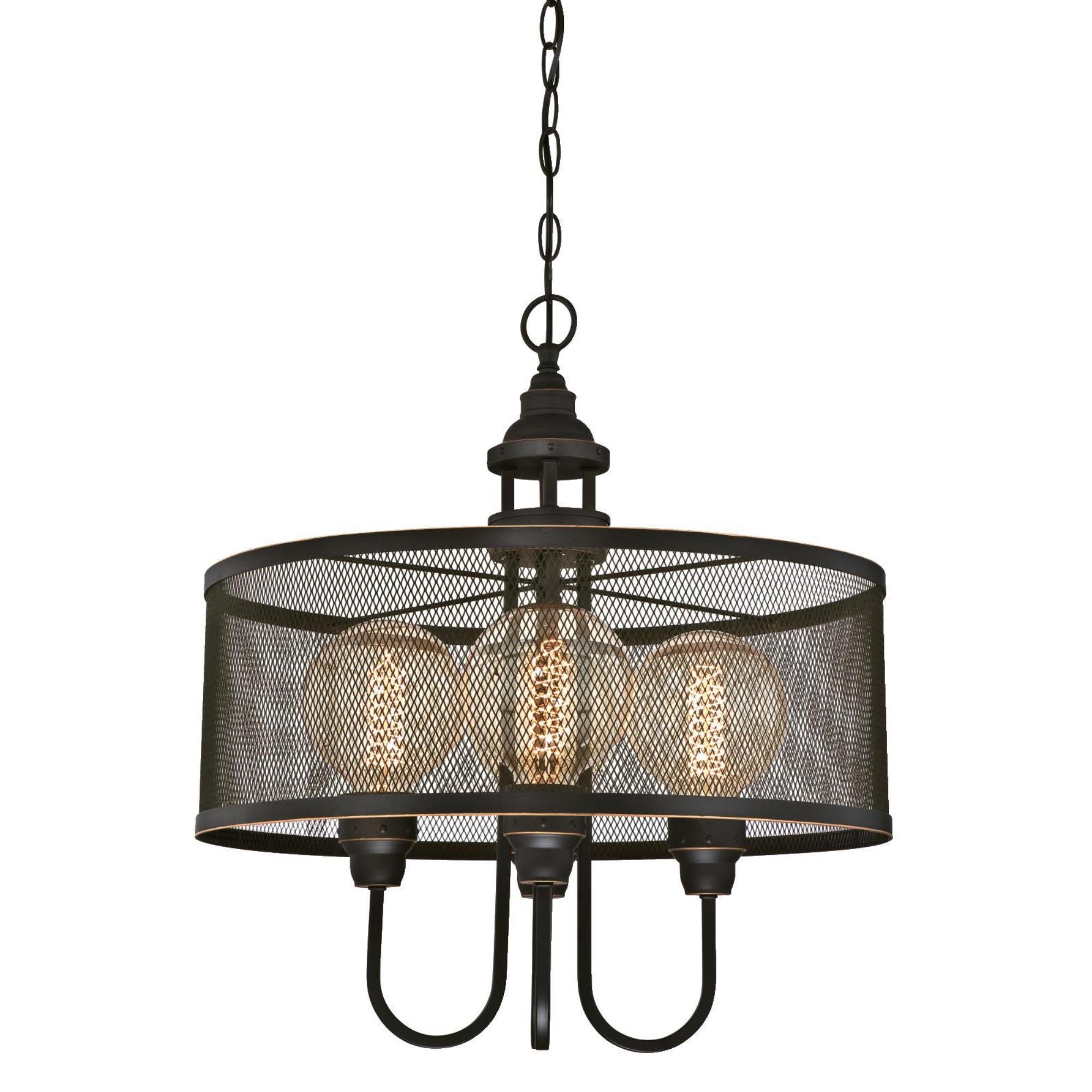 Westinghouse 6332900 Walter Four-Light Indoor Chandelier, Oil Rubbed Bronze Finish with Highlights and Mesh Shade