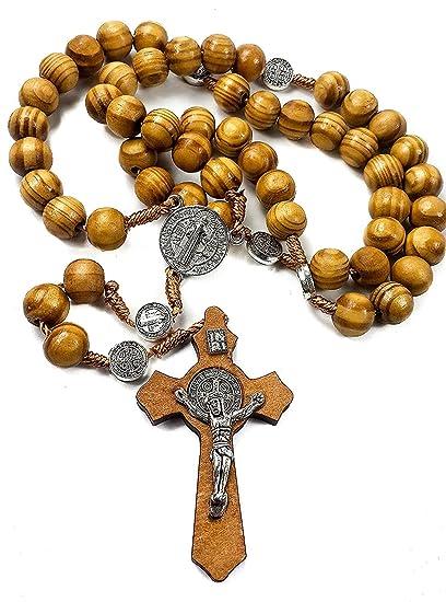 7cb70d2fde7 Amazon.com: Nazareth Store Wood Beads Rosary Necklace Saint Benedict Medal  & Catholic Cross Religious Prayer Chaplet String Handmade - Velvet Bag: ...