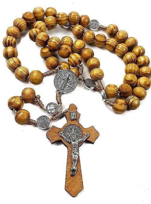 bfd6d31fc73 San Benito medalla de madera de olivo rosario Católica Nr hecha a mano de  Jerusalén