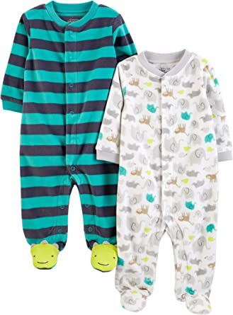 Simple Joys by Carters 2-Pack Cotton Footed Sleep And Play Bimba 0-24