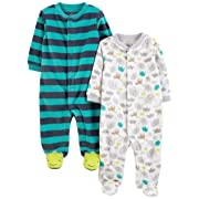 Simple Joys by Carter's Boys' 2-Pack Fleece Footed Sleep and Play, Animal/Stripe, 6-9 Months