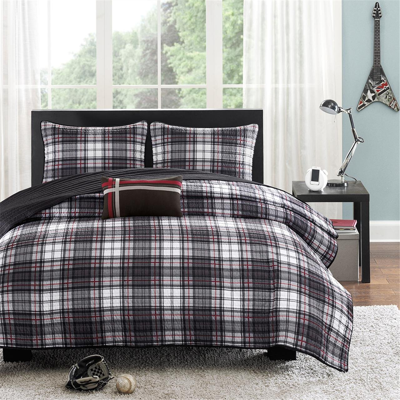 Mi-Zone Harley Twin/Twin XL Size Teen Boys Quilt Bedding Set - Black, Plaid - 3 Piece Boys Bedding Quilt Coverlets - Ultra Soft Microfiber Bed Quilts Quilted Coverlet