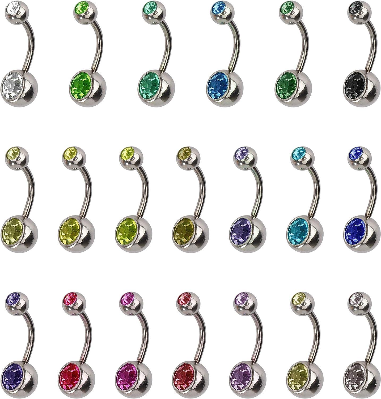 Piercing Ombligo Hipoalergénico Acero Inoxidable Piercing de Ombligo Vientre Anillo con Imitación Diamantes Accesorios de Mujer Joyería Piercing del Cuerpo 20 Piezas