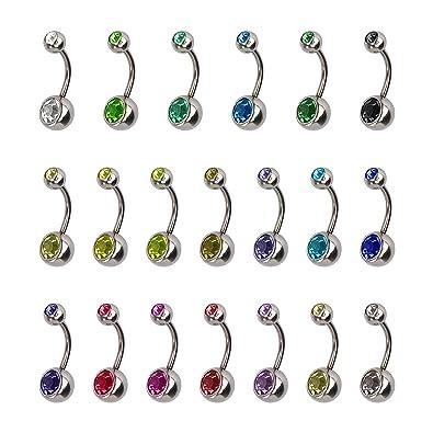 HONGXIN-SHOP Piercing Ombligo Hipoalergénico Acero Inoxidable Piercing de Ombligo Vientre Anillo con Imitación Diamantes Accesorios de Mujer Joyería ...