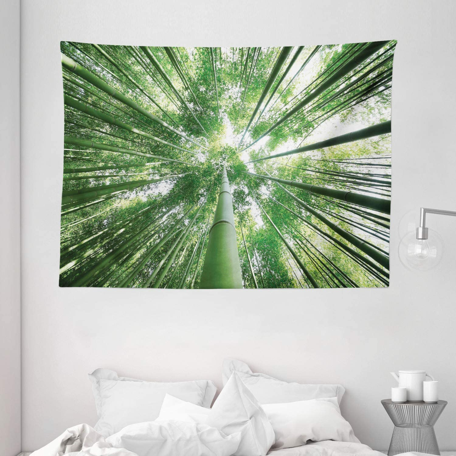 """Ambesonne Bamboo Tapestry, Tropical Rain Forest Tall Bamboo Trees in Grove Exotic Style Nature Theme Image, Wide Wall Hanging for Bedroom Living Room Dorm, 80"""" X 60"""", Green"""