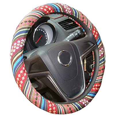 Istn Small Ethnic Style Coarse Flax Cloth Automotive Steering Wheel Cover Anti Slip and Sweat Absorption Auto Car Wrap Cover (14''-14.25, D): Automotive