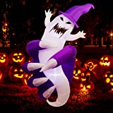 Twinkle Star 5.6FT Halloween Inflatable Lighted Skeleton Hand Hold a Ghost, LED Lights Animated Blow Up Yard Prop, Giant Lawn