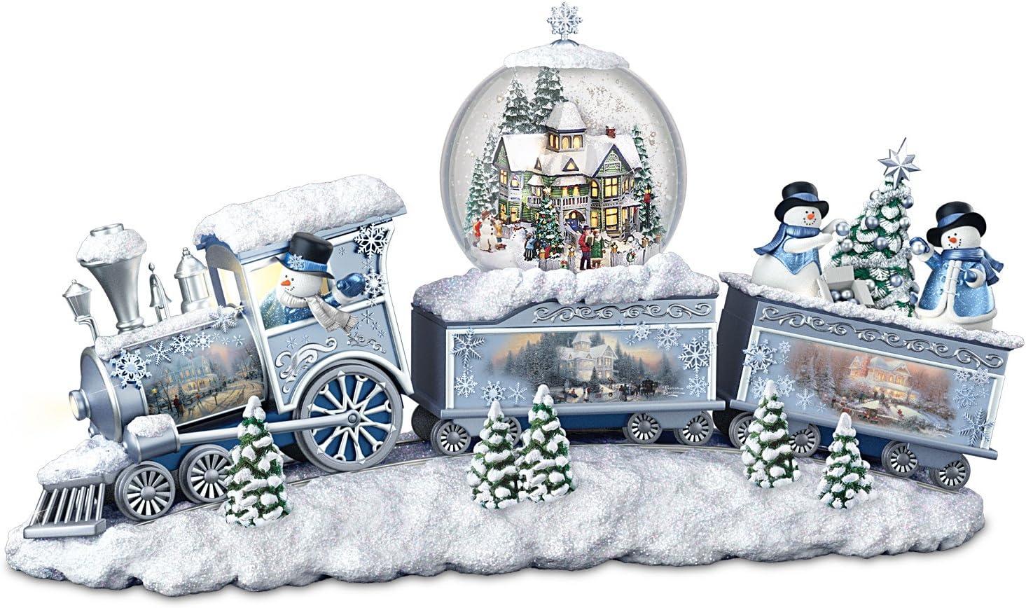 The Bradford Exchange Thomas Kinkade Snowfall Express Light Up Musical Snowman Snowglobe Train