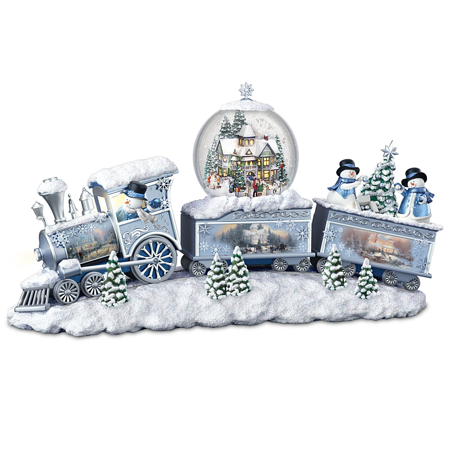Thomas Kinkade Snowfall Express Light Up Musical Snowman Snowglobe Train by The Bradford Exchange by Bradford Exchange