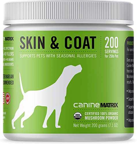 Canine Matrix Organic Mushroom Supplement for Dogs, Skin Coat, 200 Grams