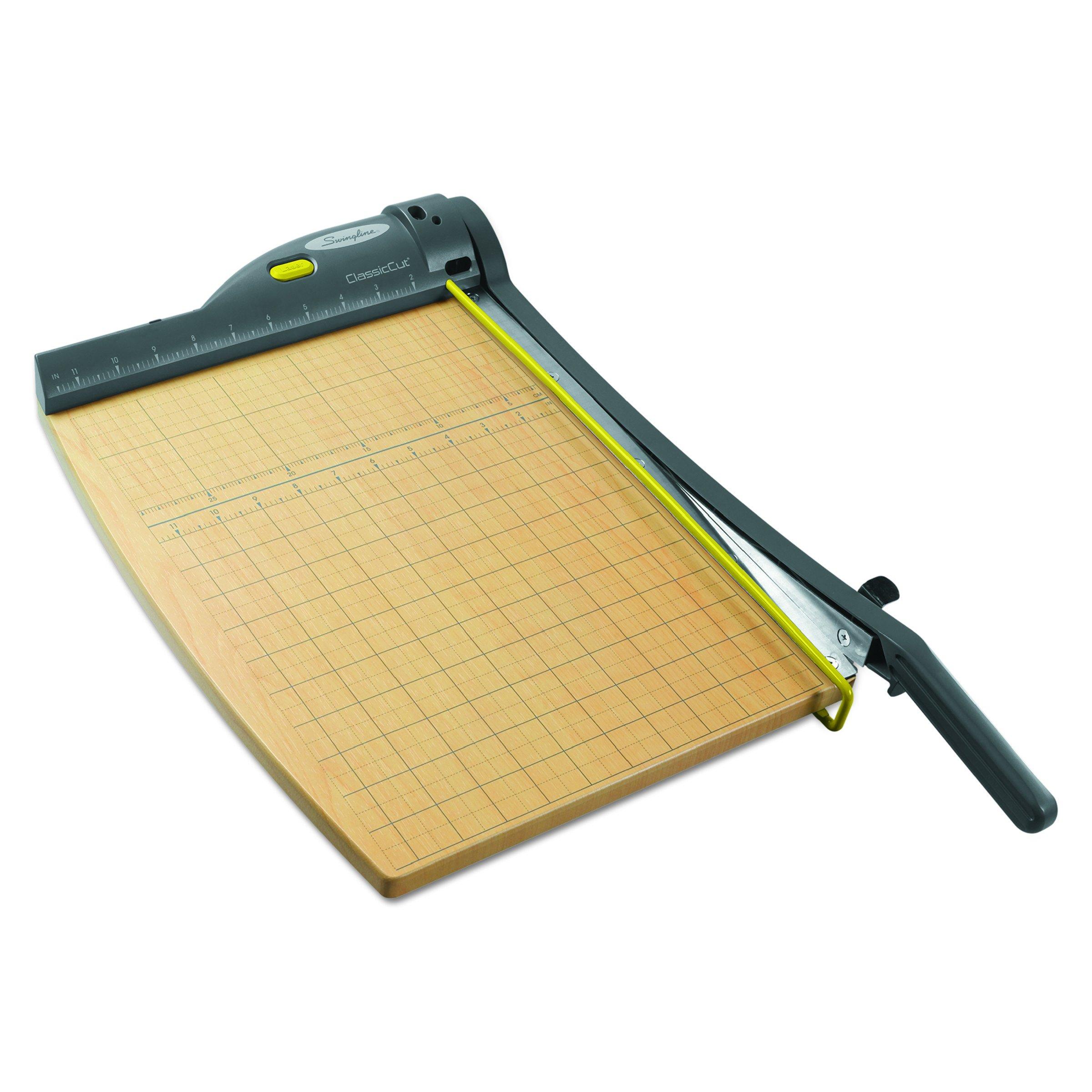 Swingline 9715 ClassicCut 15-Sheet Laser Trimmer, Metal/Wood Composite Base, 12 x 15