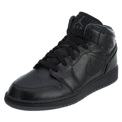 4ff4e33cca6f Nike Jordan Kids Air Jordan 1 Mid Bg Black Black Dark Grey Basketball Shoe