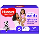 Huggies Ultra Dry Nappy Pants, Girl, Size 6 (15+kg), 92 Count, Packaging May Vary, Size 6 (15kg and over) 92 count, Pack…