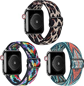 Bekomo [3-pack] Adjustable Stretchy Loop Strap Compatible for Apple Watch Bands 38mm 40mm,Sports Stretchy Loop band Replacement Wristband for iwatch Series 3/2/1 Men Women