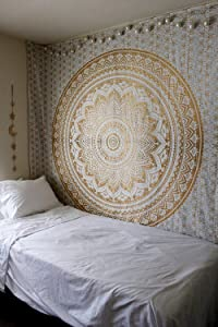 Popular Handicrafts Kp784 Original Gold and Silver Ombre Tapestry Mandala Tapestries Wall Art Hippie Wall Hanging Bohemian Bedspread with Metallic Shine Tapestries 84x90 Inches(215x230cms)