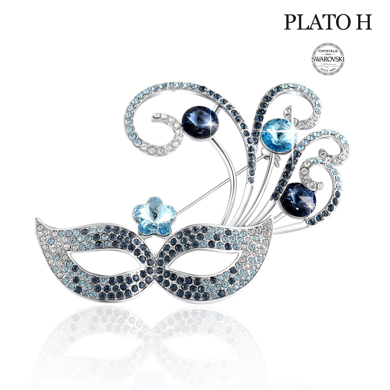 PLATO H Woman Mask Pins Brooches Venice Bauta Brooch with Swarovski Crystals Mom Ideal Gift, Fashion Jewelry, for Her