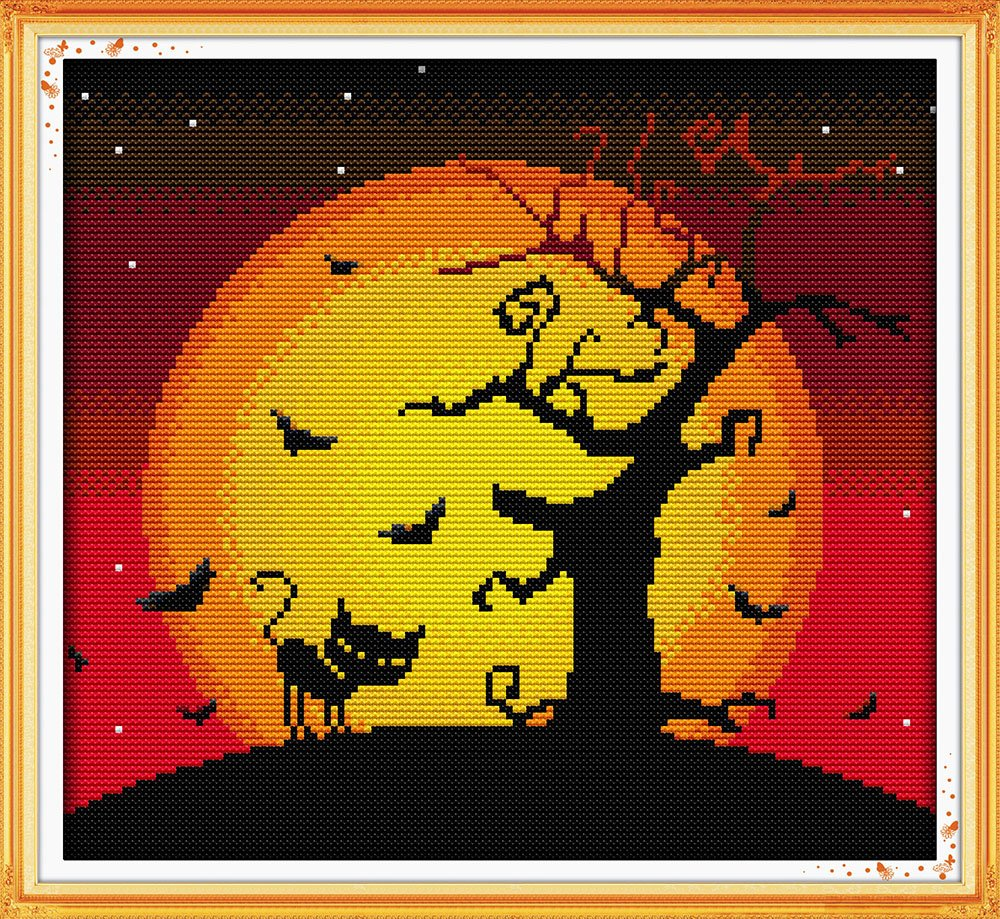 Good Value Cross Stitch Kits Beginners Kids Advanced - The Night Of Halloween 11 CT 15X 14, DIY Handmade Needlework Set Cross-Stitching Accurate Stamped Patterns Embroidery Home Decoration Frameless Ulink