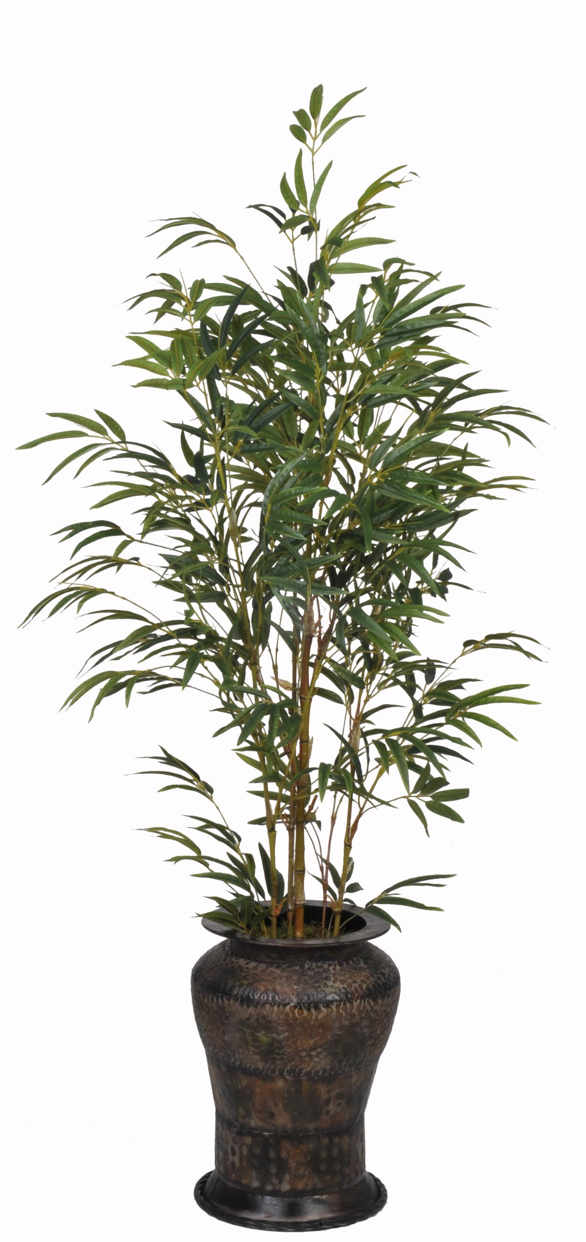 Artificial 5ft Yellow Bamboo in Hammered Metal by House of Silk Flowers