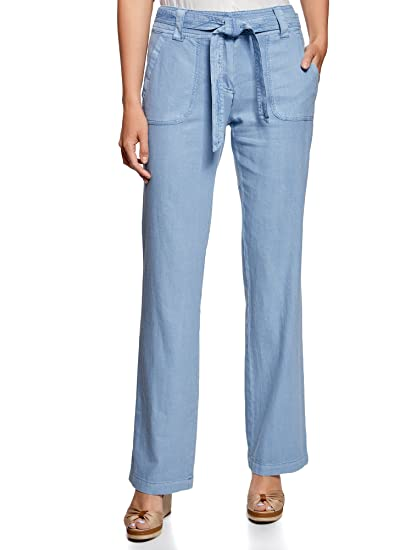 781801e170cb2 oodji Collection Femme Pantalon Ample en Viscose et Lin, Bleu, FR 36 / XS