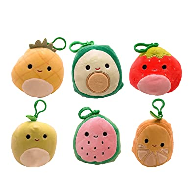 "Squishmallow Kellytoy 2020 Set of 6 Mini 3.5"" Fruits Squad Collection Plush Toy: Toys & Games"
