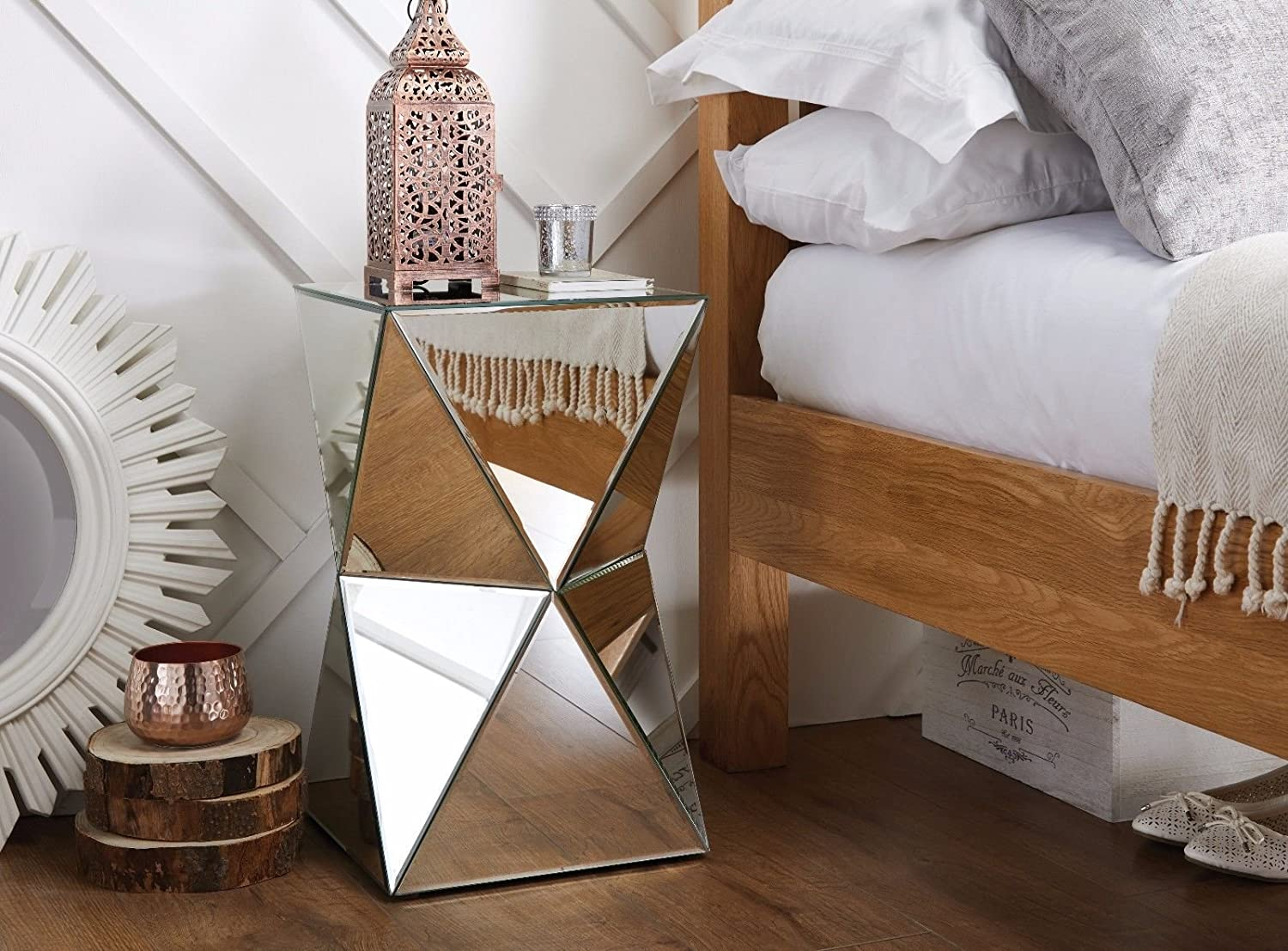 Venetian Lamp Mirrored Mirror Bed Side Bedside Table Bedroom Living Room Excellent In Quality