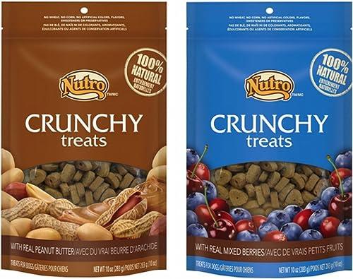 Nutro Crunchy Dog Treats 2 Flavor Variety Bundle 1 Nutro Crunchy Dog Treats with Real Peanut Butter and 1 Nutro Crunchy Dog Treats with Real Mixed Berries, 10 Ounces Each 2 Bags Total