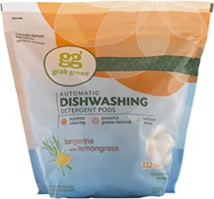 Grab Green Natural Dishwasher Detergent Pods, Tangerine + Lemongrass-With Essential Oils, 132 Count, Organic Enzyme-Powered, Plant & Mineral-Based