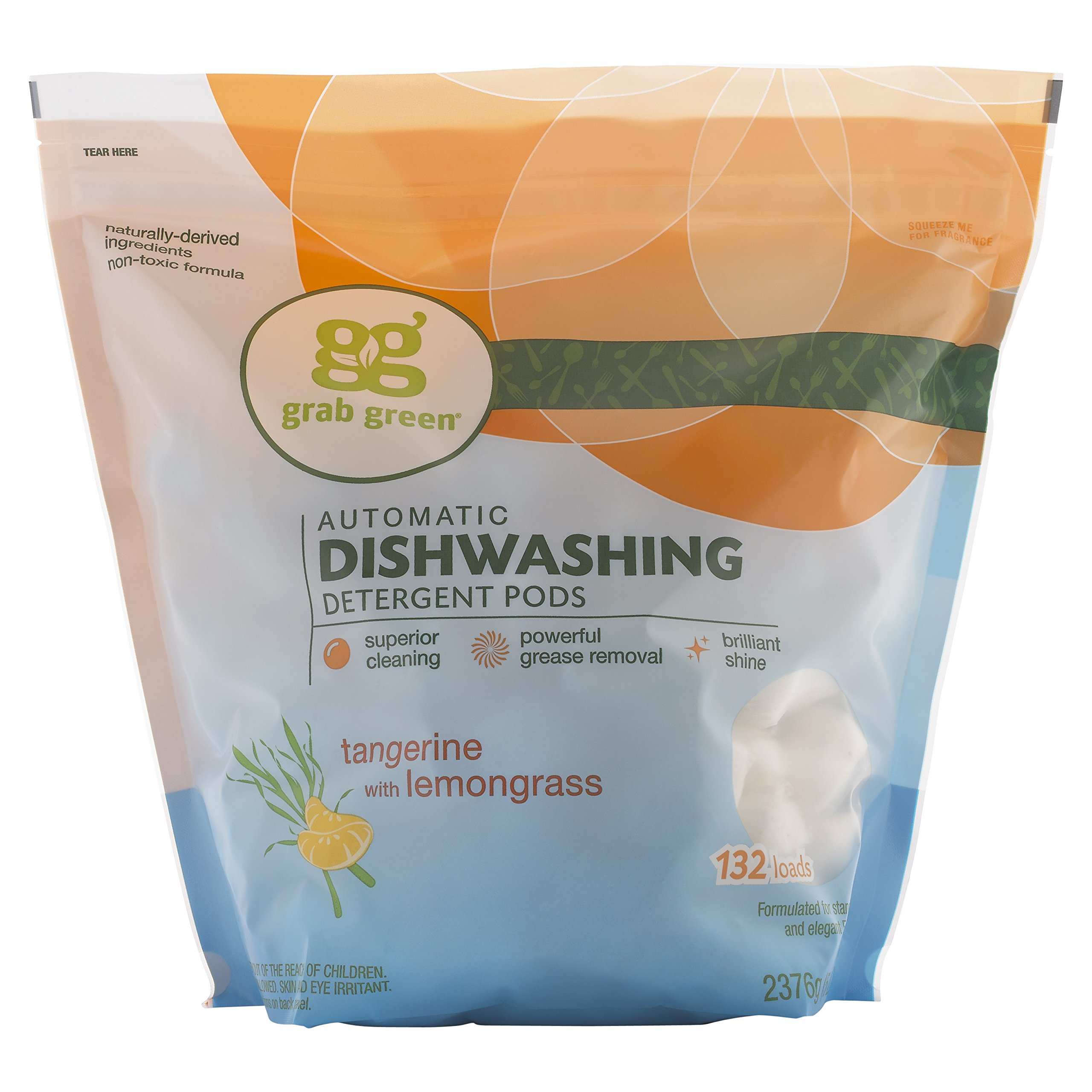 Grab Green Natural Automatic Dishwashing Detergent Pods, Tangerine with Lemongrass, 132 Loads