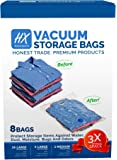 Vacuum Storage Bags - High Quality Space Saver Bags (Vacuum Sealer Bags, Ziploc Bags, Travel Bags) and FREE space for Storing Clothes & Comforters. 3 Extra Large (Jumbo) + 3 Large + 2 Medium