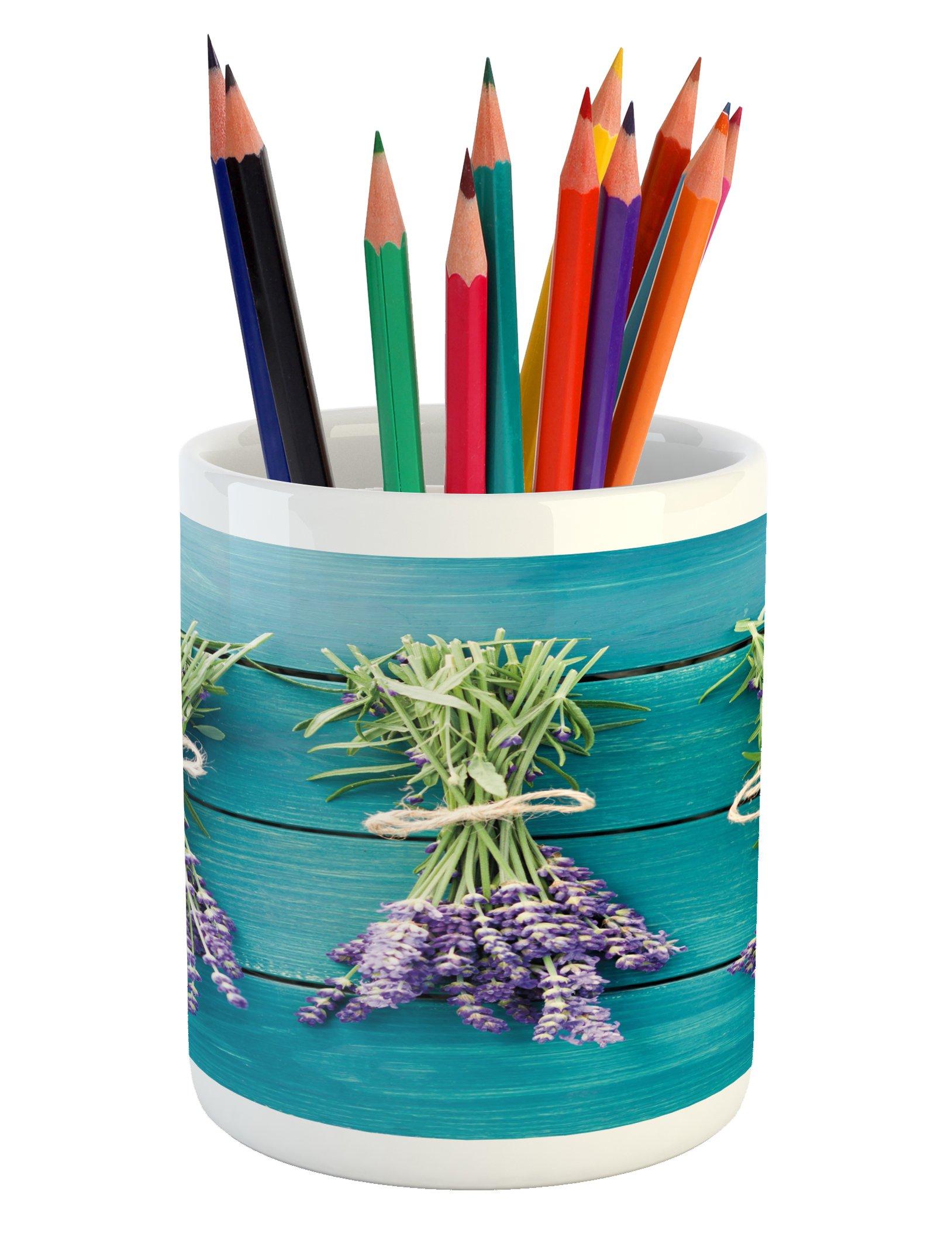 Lunarable Lavender Pencil Pen Holder, Fresh Lavender Bouquets on Blue Wooden Planks Rustic Relaxing Spa, Printed Ceramic Pencil Pen Holder for Desk Office Accessory, Sky Blue Lavender Green
