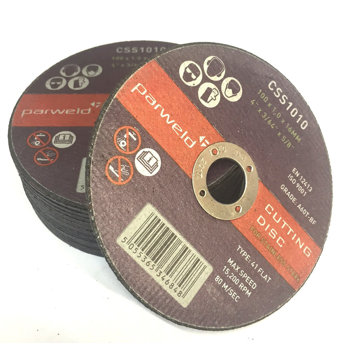 (PACK OF 100) Parweld (4') 100mm x 1mm Thin stainless Steel Cutting discs - metal slitting discs 16mm bore