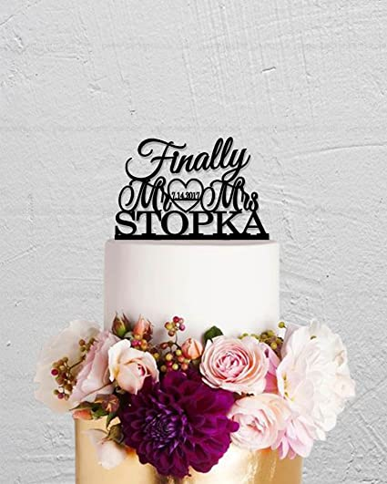 Amazon Com Name Personalized Finally Wedding Cake Topper Mr And Mrs