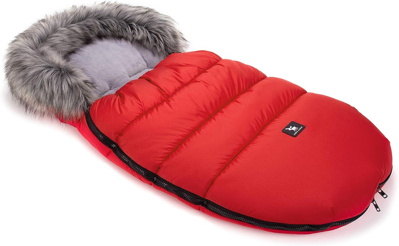 Cottonmoose Moose Saco de invierno dormir térmico para carrito silla de bebé universal abrigo polar - disponible en diferentes colores (422 Moose Red-Grey)