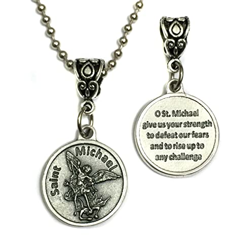 4b8bfc3ca83 Image Unavailable. Image not available for. Color: Saint St Michael  Archangel with Prayer Protection Medal Pendant Charm with Necklace ...